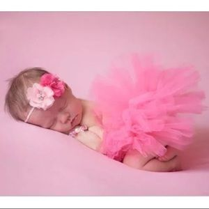 Tutu & Bow set Newborn Photo Prop sz 0-6m